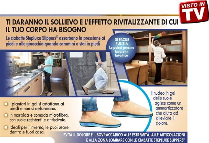STEPLUXE SLIPPERS pantofole in gel per fuori e dentro casa
